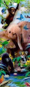 3D Könyvjelző - Elefánt, majmok